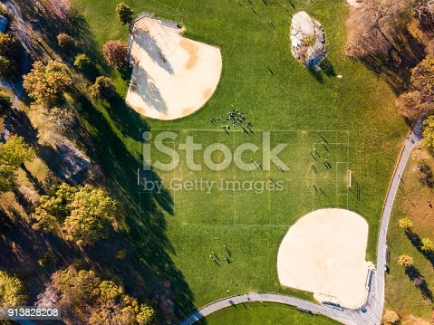 Soccer and baseball playgrounds in Central park aerial view