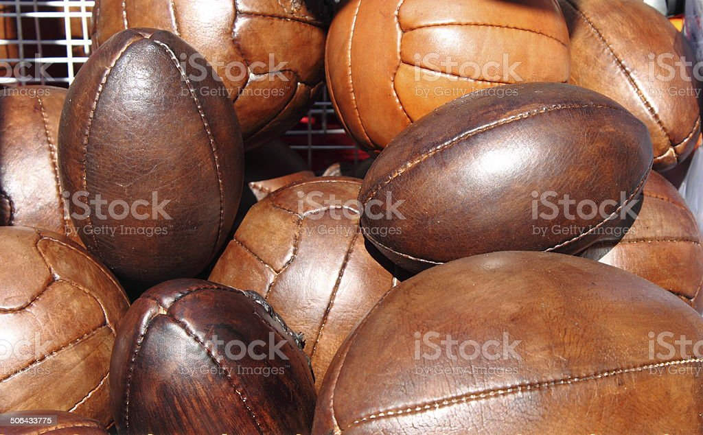 Soccer and rugby balls stock photo