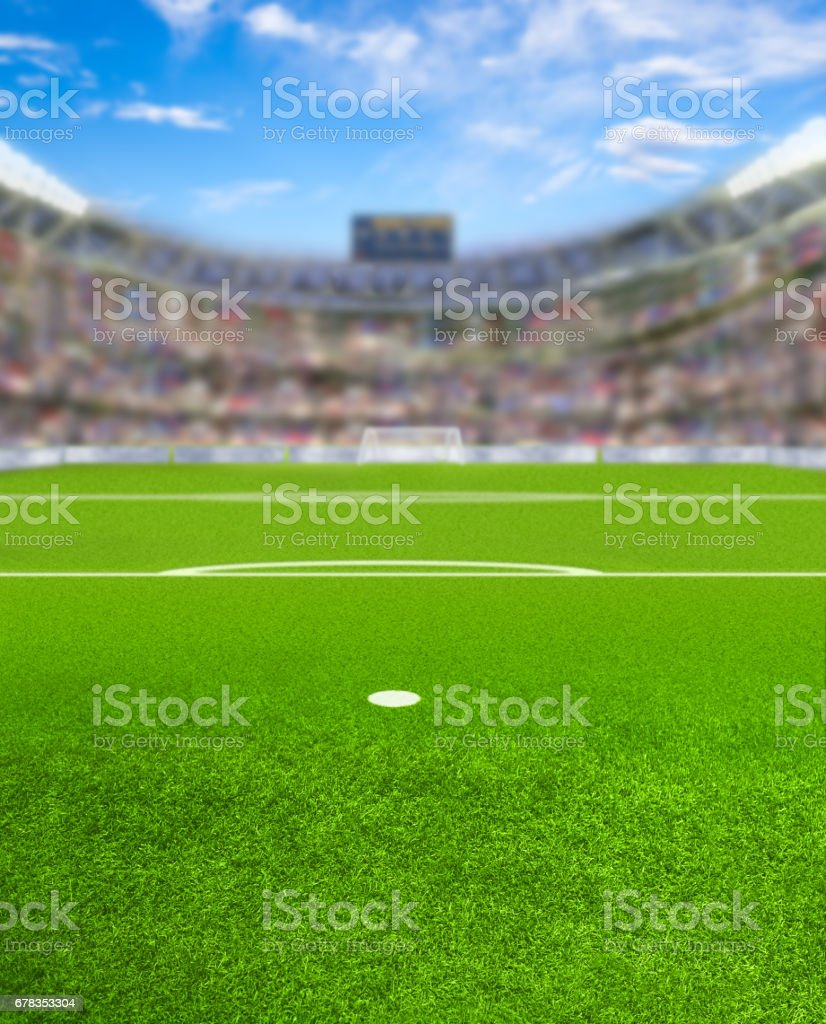 Soccer Arena With Fans and Copy Space stock photo