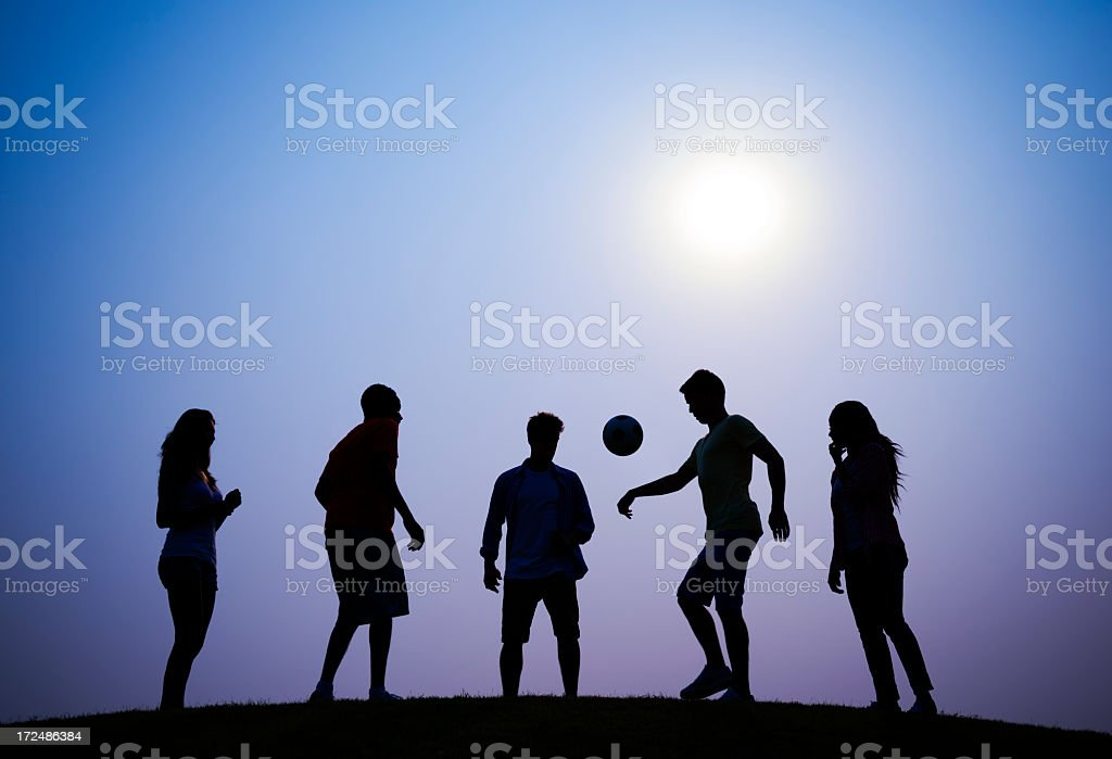Soccer at Sunset royalty-free stock photo