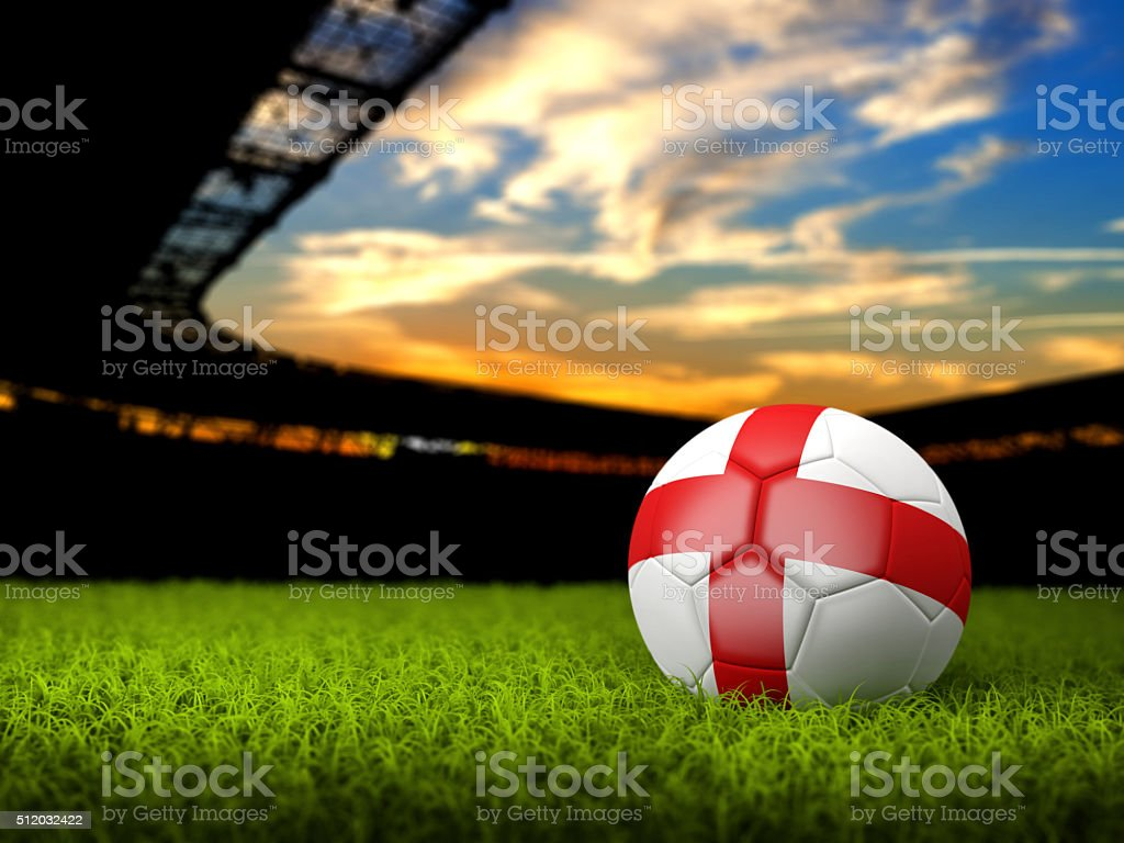 Soccer Background with Ball and England Flag stock photo