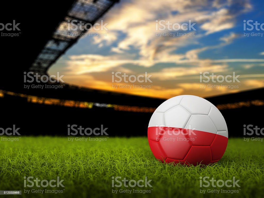 Soccer Background with Ball and Poland Flag stock photo