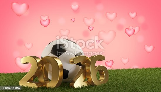 istock soccer ball 2026 hearts background. 3d-illustration 1136202357