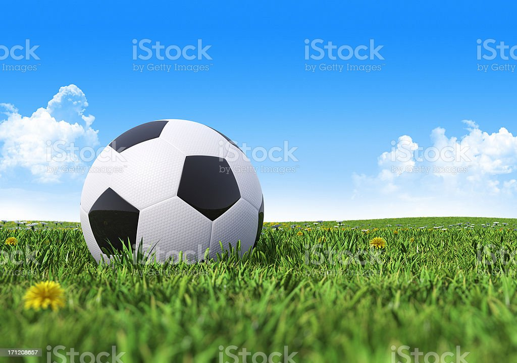 soccer ball against blue sky royalty-free stock photo