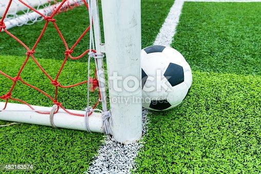 istock Soccer ball at line soccer goal. 482163574