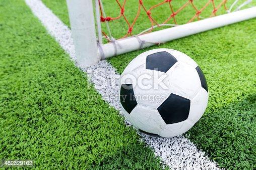 istock Soccer ball at line soccer goal. 482329162