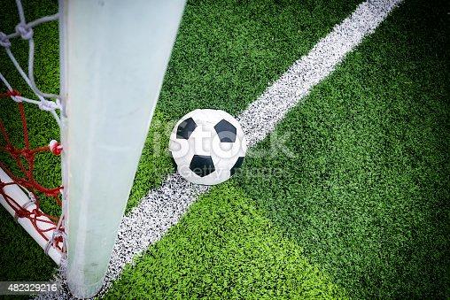 istock Soccer ball at line soccer goal. 482329216
