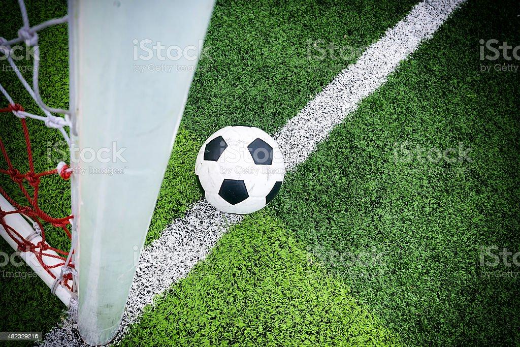 Soccer ball at line soccer goal. stock photo