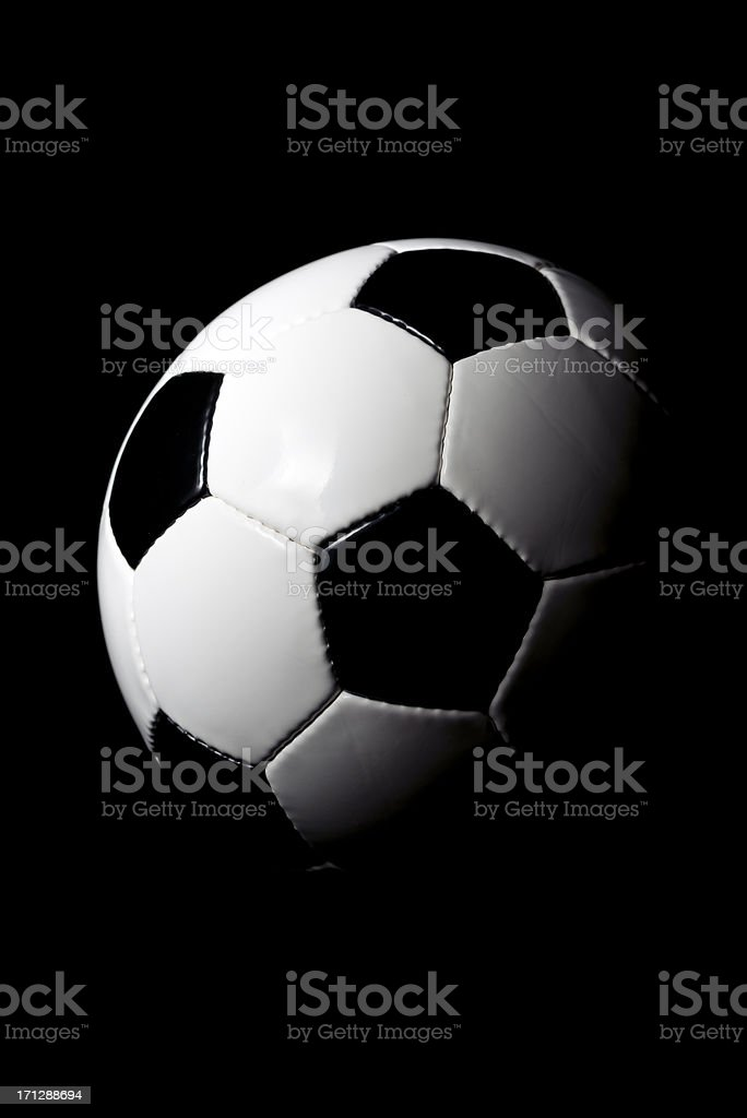 Soccer ball, black background royalty-free stock photo