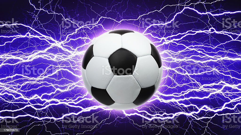 Soccer ball, bright lightnings royalty-free stock photo