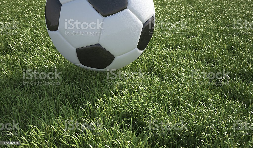Soccer ball close-up on grass lawn. royalty-free stock photo
