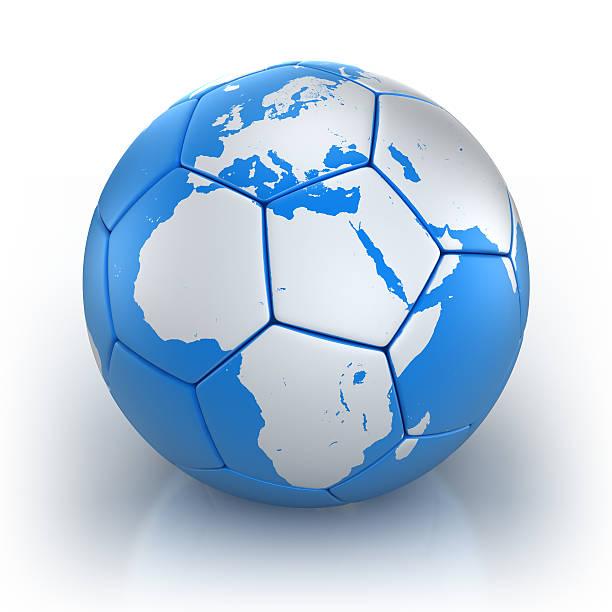 Cтоковое фото Футбольный мяч с Африка/ЕС карта изолированные с Обтравка