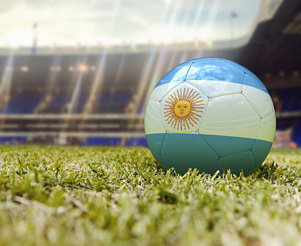 3D Soccer ball flag of Argentina stock photo