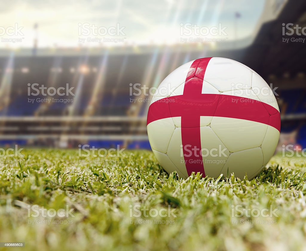 3D Soccer ball flag of England stock photo