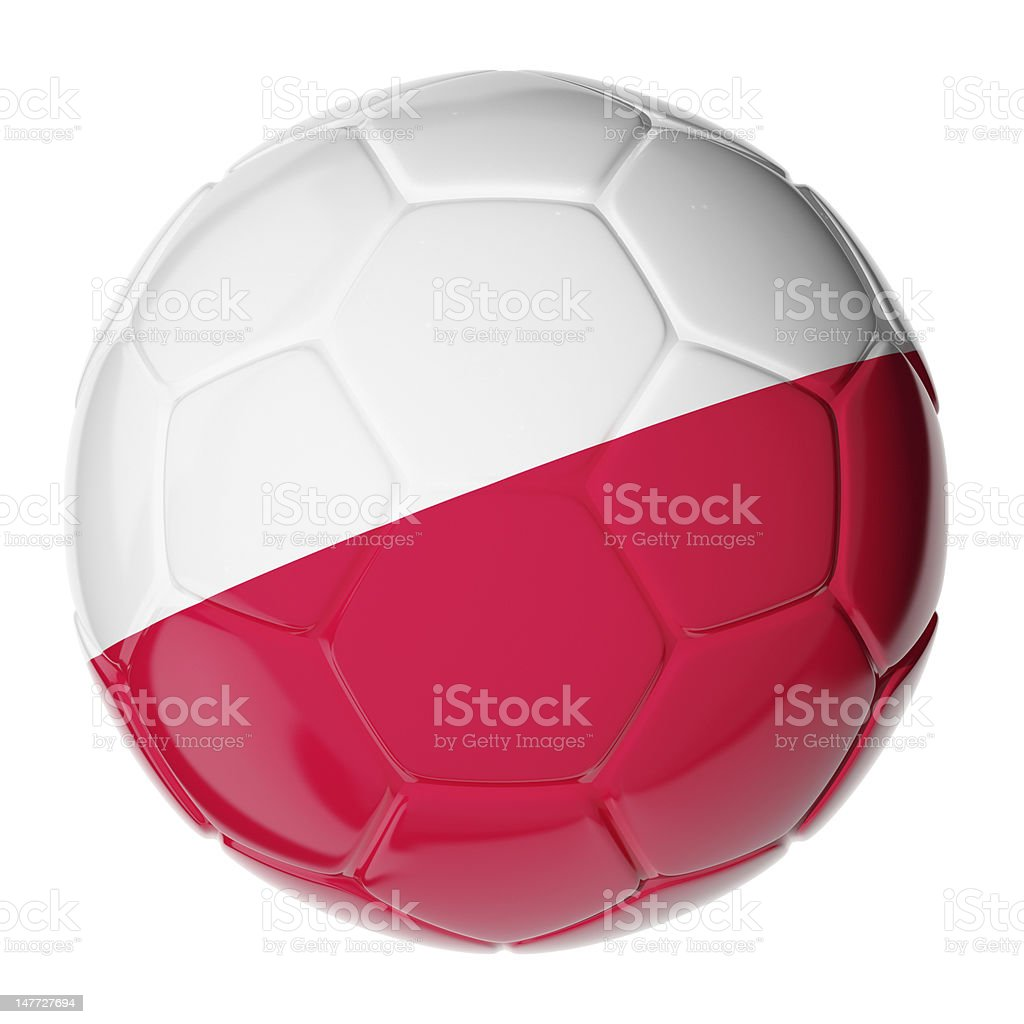 Soccer ball. Flag of Poland royalty-free stock photo