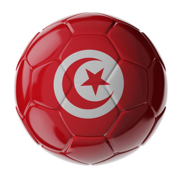 Fußball. Flagge von Tunesien – Foto
