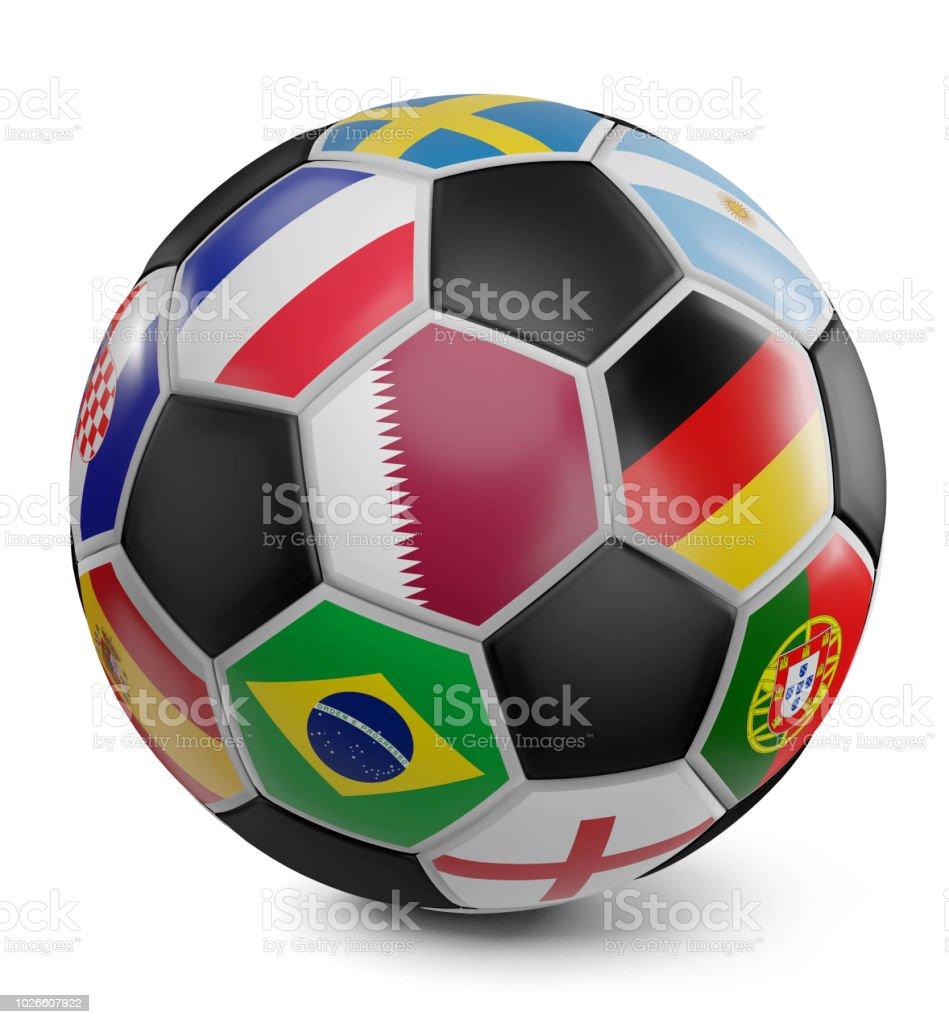 banderas de fútbol bola diseño 3d-ilustración - foto de stock