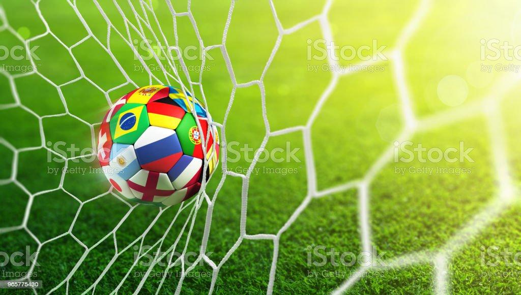 Soccer Ball Flaggen im Tor – Foto