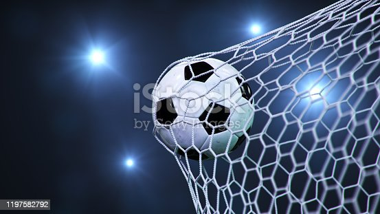 Soccer ball flew into the goal. Soccer ball bends the net, against the background of flashes of light. Soccer ball in goal net on blue background. A moment of delight, 3D illustration