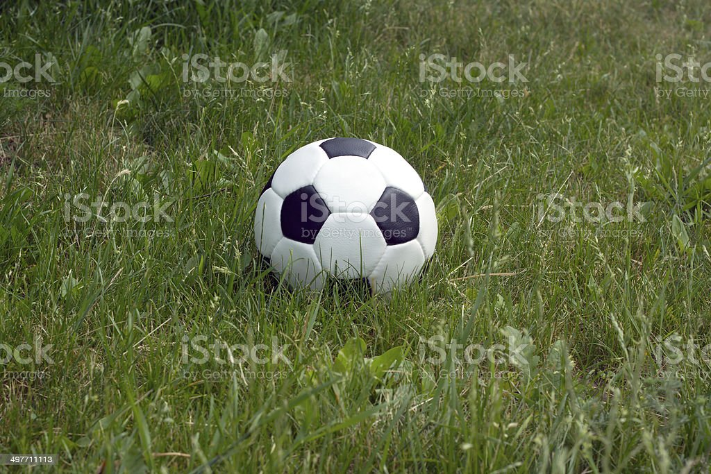 Soccer ball for playing football in green grass closeup royalty-free stock photo
