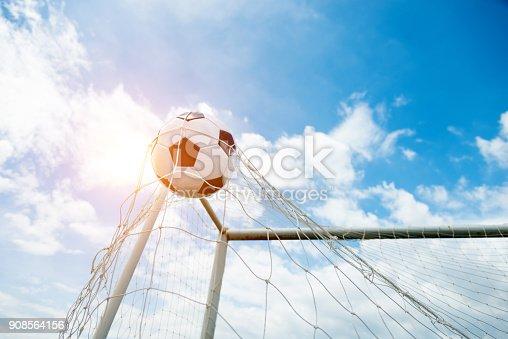 istock Soccer ball hitting the net 908564156