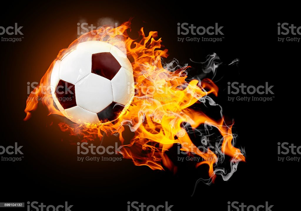 Soccer ball in fire stock photo