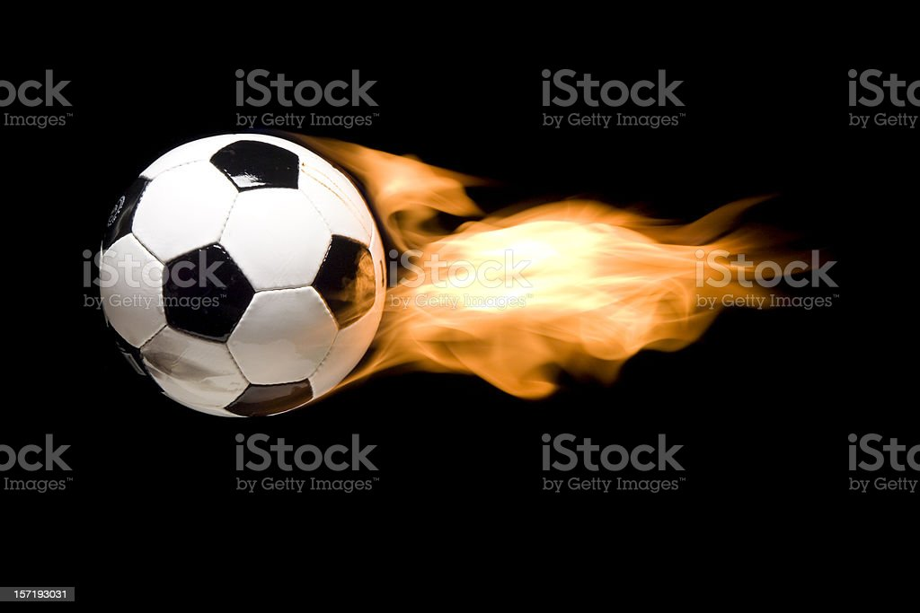 soccer ball (football) in flames 2 royalty-free stock photo
