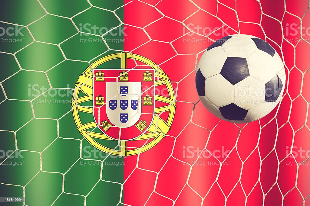 soccer ball in front of the Portugal flag vintage color stock photo