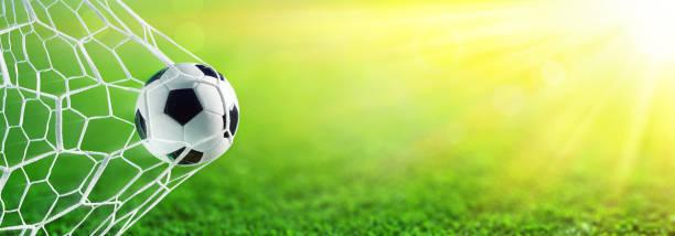 voetbal in doel met zonlicht - soccer goal stockfoto's en -beelden