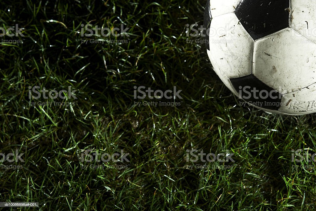 Pallone da calcio in erba foto stock royalty-free