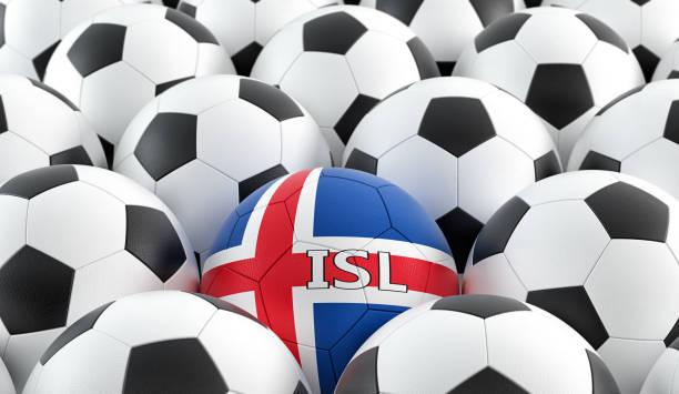 Bola de futebol em conceituados cores nacionais. Renderização 3D - foto de acervo