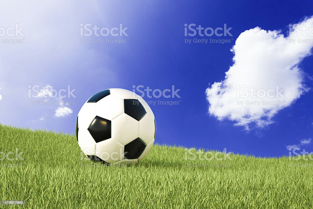 Soccer ball in nature stock photo