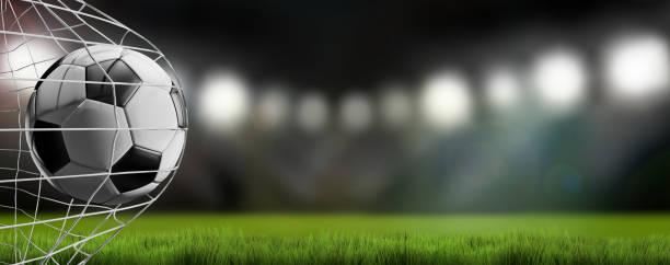 Fußball im Netz. Fußball Tor 3d-illustration – Foto