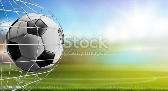 istock soccer ball in net. soccer goal 3d-illustration 1074622430