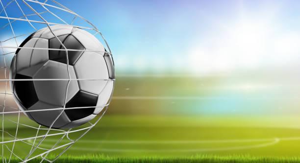 voetbal in het net. voetbal doel 3d-illustratie - soccer goal stockfoto's en -beelden