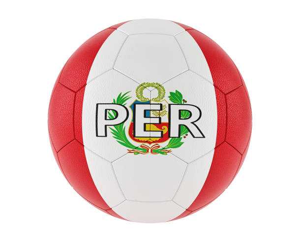 Soccer ball in Peru´s national colors - 3D Rendering stock photo
