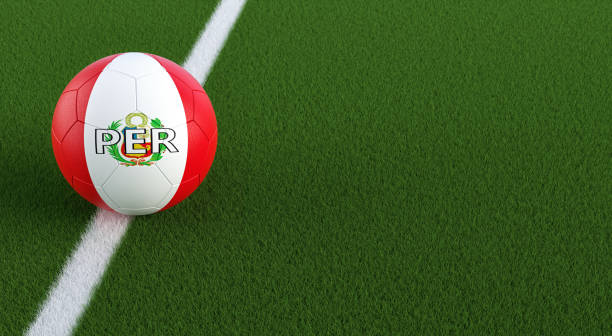 Soccer ball in Peru´s national colors on a soccer field. Copy space on the right side - 3D Rendering stock photo