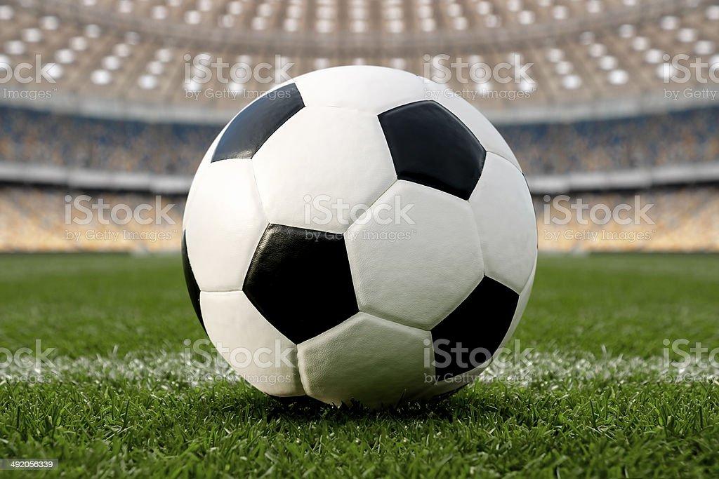 Soccer Ball In Stadium stock photo