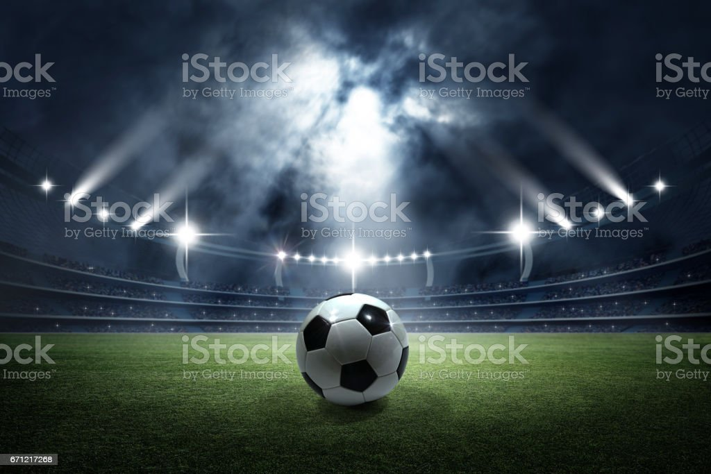 Soccer ball in the stadium - foto de stock