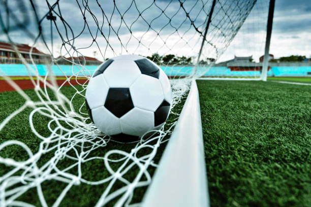 voetbal bal in het doel - gaas stockfoto's en -beelden