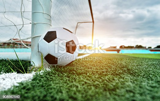 637297180 istock photo Soccer ball is outside the goal 908562540