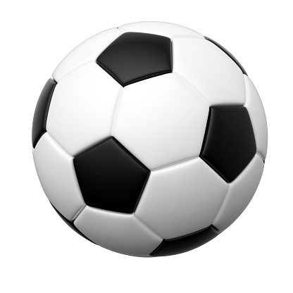 Soccer ball isolated 3d rendering