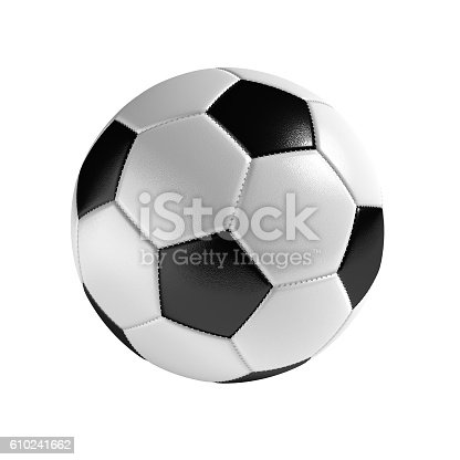 Soccer ball isolated on the white background without shadow. Sport equipment with detailed texture and stitches.