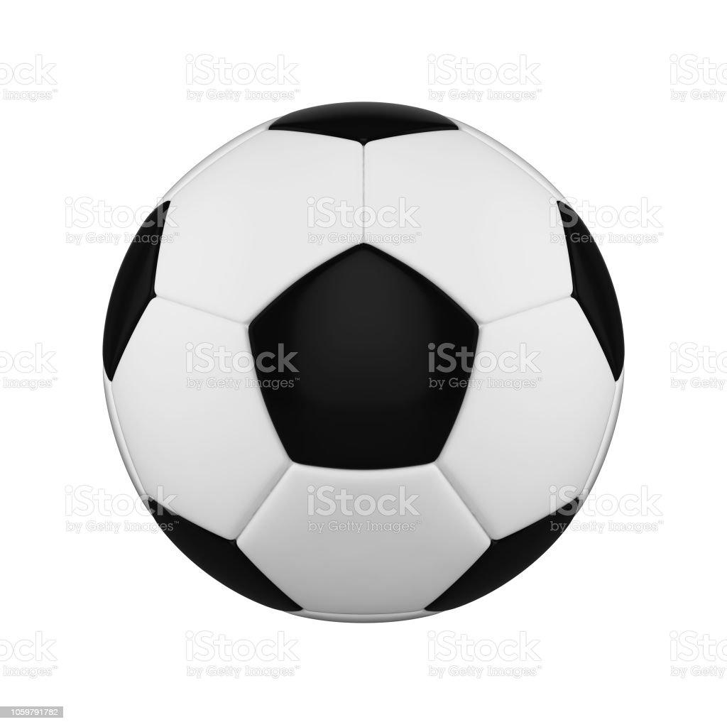 Fussball Isoliert Auf Weissem Hintergrund Schwarz