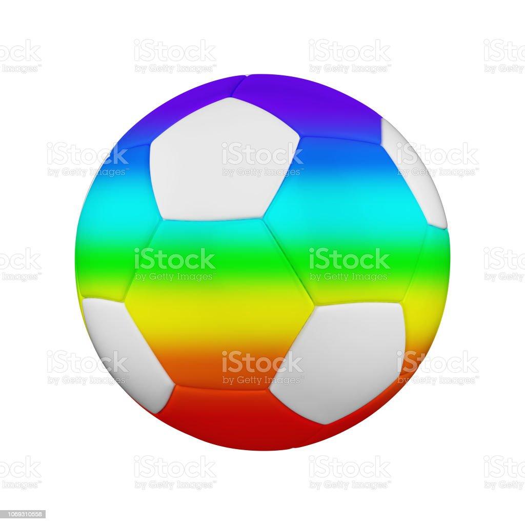 Fussball Isoliert Auf Weissem Hintergrund Weiss Und Regenbogen
