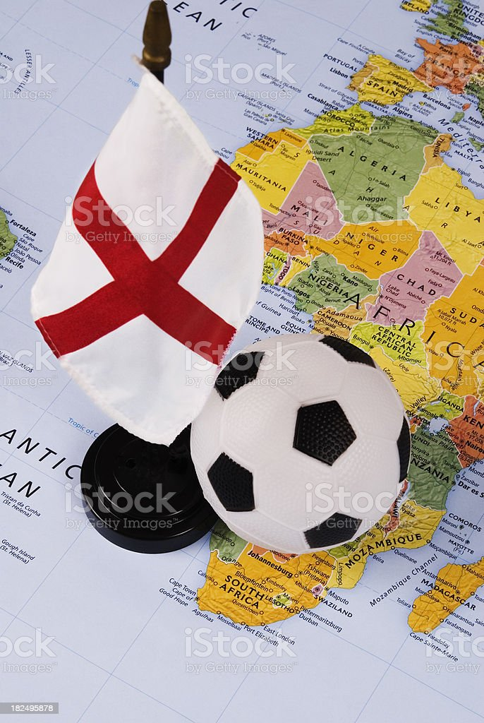 Soccer (football) ball, map of Africa and England flag royalty-free stock photo