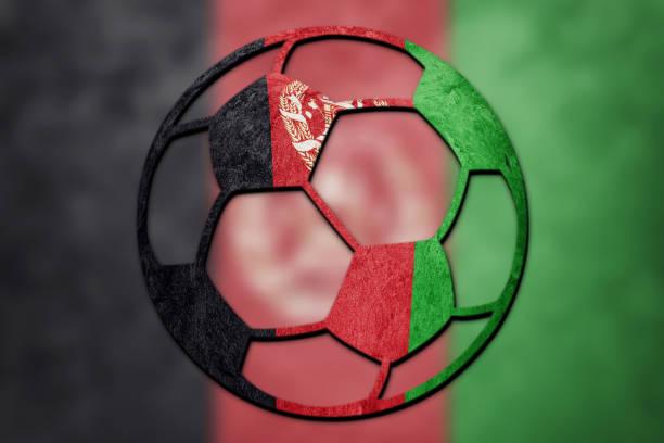 Soccer ball national Afghanistan flag. Afghanistan football ball. stock photo