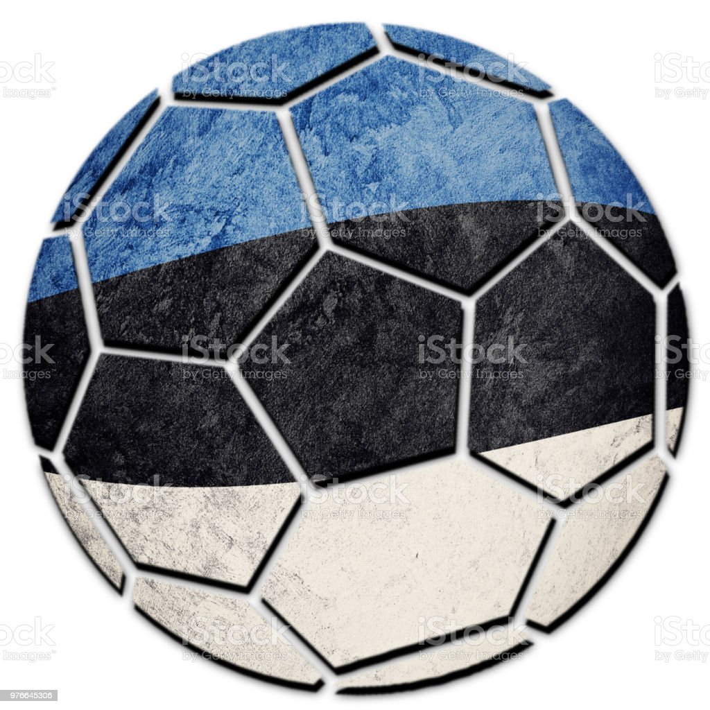 Soccer ball national Estonia flag. Estonian football ball. stock photo