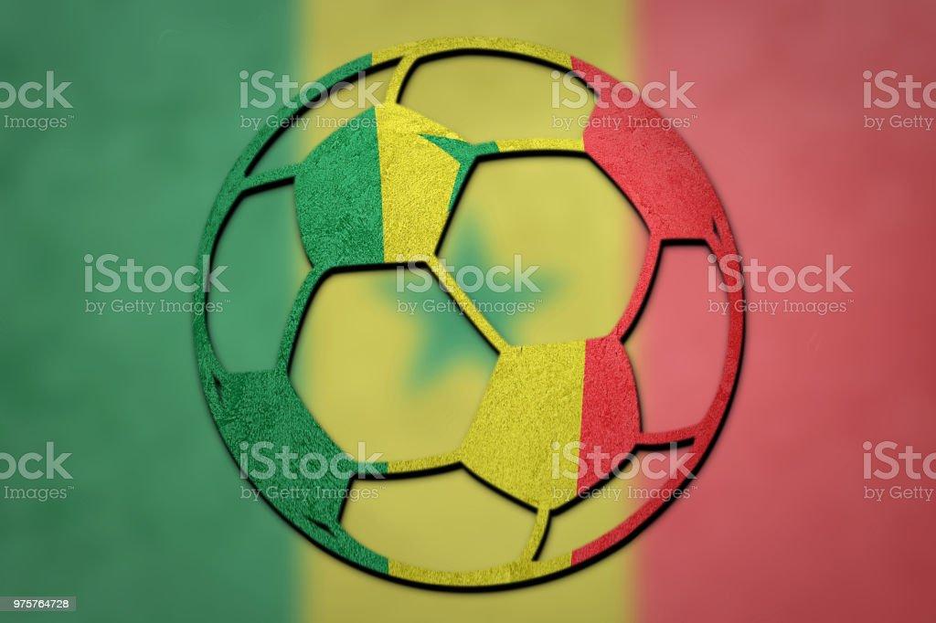 Futebol bola Senegal bandeira. Bola de futebol do Senegal. - foto de acervo