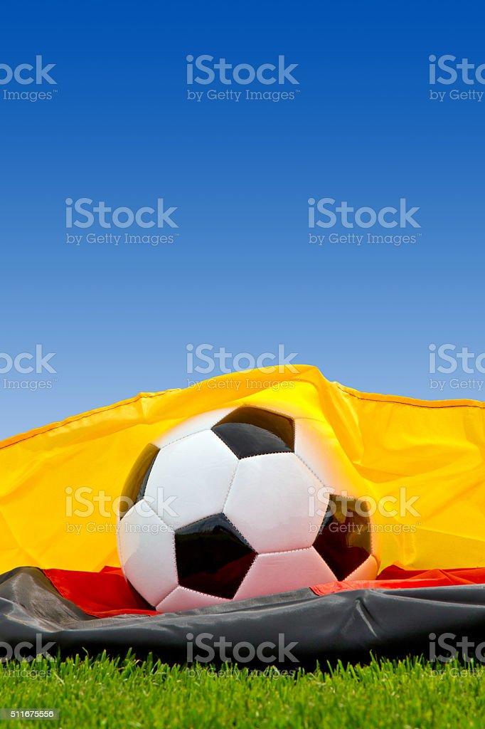 Soccer ball on a german flag stock photo
